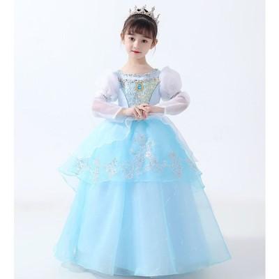 M1642 子供ドレス シンデレラ コスプレ プリンセス Cinderella 女王 お姫様 なりきり キッズ ハロウィン 王女 クリスマス お姫 パーディ 誕生日 プレゼント
