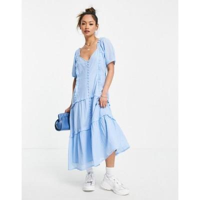 ネオンローズ ミディドレス レディース Neon Rose midi milkmaid dress with frill trim エイソス ASOS ブルー 青