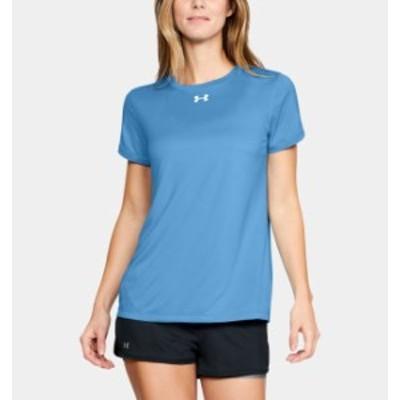 アンダーアーマー レディース Tシャツ Under Armour UA Locker T-Shirt 半袖 Carolina Blue/White