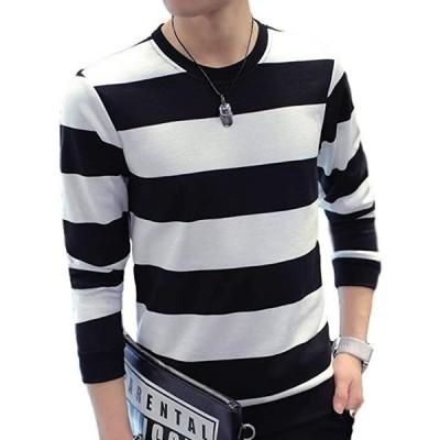BEN057BKL Tシャツ メンズ ボーダー 長袖 カットソー 綿 オシャレ カジュアル 春 秋 トップス 丸首 夏(ブラック, L)