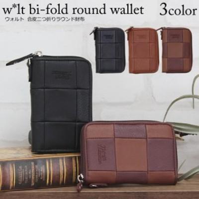 合皮 walt折財布 メンズ 二つ折れ財布 合成皮革 ラウンドファスナー ウォレット ワレット walt 財布 小銭入れ カード収納 カッコイイ 黒