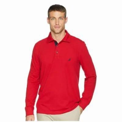 ノーティカ ポロシャツ Long Sleeve Solid Polo Nautica Red
