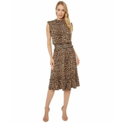 マイケルコース レディース ワンピース トップス Mini Cheetah Smocked Waist Dress Dark Camel