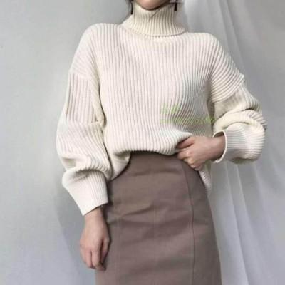 ニット レディース 秋服 暖かめ ハイネック シンプル セーター 長袖 秋冬ニット 体型カバー ゆったり