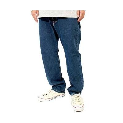 デニムパンツ メンズ 大きいサイズ 選べる股下 スリム レギュラーフィット ストレッチ テーパード ジーンズ 100 ネイビー75(股下70