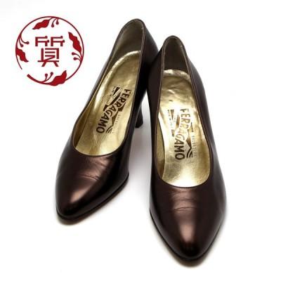 【楠本質店/元住吉】フェラガモ パンプス カラー:メタリックブラウン系 #7C (約24cm)