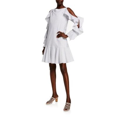 アディアム レディース ワンピース トップス Striped Cotton Cold-Shoulder Dress