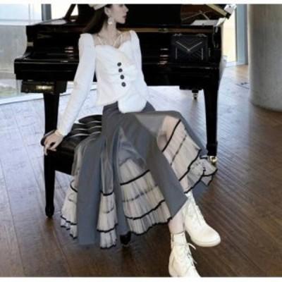 スカート レディース レディーススカート 膝下スカート ミモレ丈 ロング 異素材使い プリーツ 配色 透け素材 レトロ おしゃれ スカート