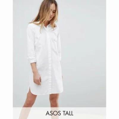 エイソス ワンピース ASOS TALL Cotton Shirt Dress White