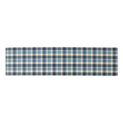 ふきとれるキッチンマット チェック 45×180cm ブルー