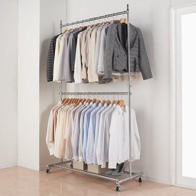 家具 収納 衣類収納 パイプハンガー プロ仕様 上下2段頑丈ハンガーラック 幅117cm 572822