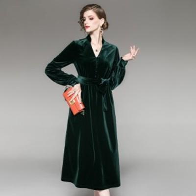 襟付き Vネック ベロア 光沢 ウエストベルト ゆったり ミディアム丈 ドレス