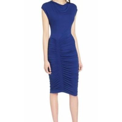 ファッション ドレス Halogen Womens Cap Sleeve Ruched Knit Blue Size Medium M Sheath Dress