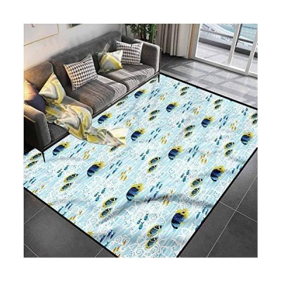 Area Rugs Print Large Carpet Aquarium,Tropical Fishes Sea Life Kitchen Rugs and mats for Living Room Bedroom Playing Room 5'x8'並行輸入品