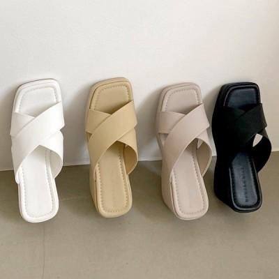 サンダル ウェッジヒール ウェッジソール ハイヒール クロスデザイン レディース 黒 白 灰色 ブラック ホワイト ベージュ グレー 靴 婦人靴 歩きやすい 痛くない