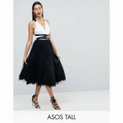 エイソス ワンピース ASOS TALL PREMIUM Tulle Midi Prom Dress With Ribbon Ties Black/white