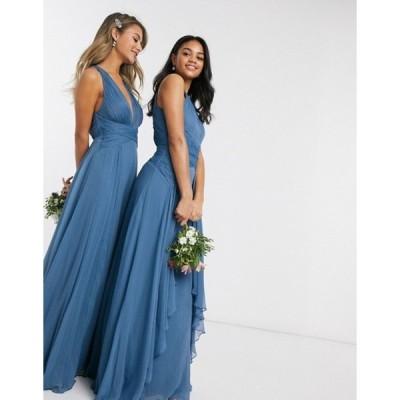 エイソス レディース ワンピース トップス ASOS DESIGN Bridesmaid pinny maxi dress with ruched bodice and layered skirt detail in blue