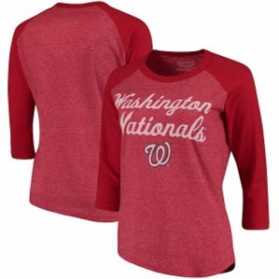Majestic Threads マジェスティック スレッド スポーツ用品  Majestic Threads Washington Nationals Womens Red 3/4-