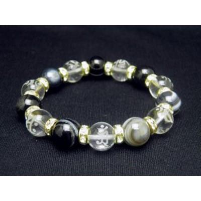 7種の梵字入り 梵字 水晶素彫り数珠 天眼石 ブレスレット 風水 パワーストーン