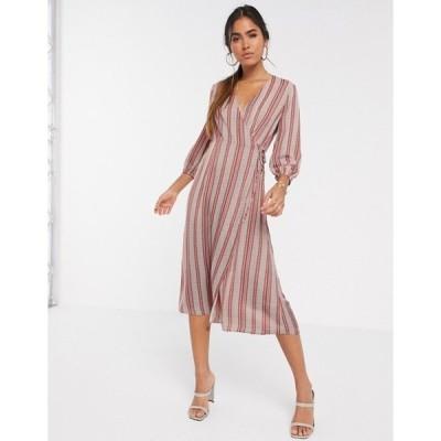 ヴェロモーダ レディース ワンピース トップス Vero Moda wrap midi dress in mixed stripes