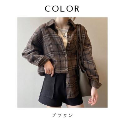 オーバーサイズ 厚手チェック長袖シャツ レディース チェック柄 シャツ 2020年 秋 新作 韓国 韓国ファッション