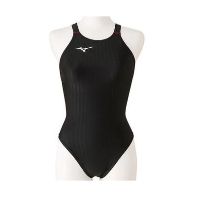 ミズノ(MIZUNO) レディース 競泳水着 ハイカット ブラック×レッド N2MA0222 96 FINA承認 女性用競泳水着 競技用 スイムウェア