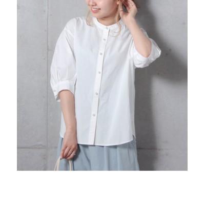 パールボタン5分袖シャツ