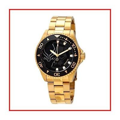 Invicta Men's Marvel Gold-Tone Steel Bracelet & Case Quartz Black Dial Analog Watch 29686