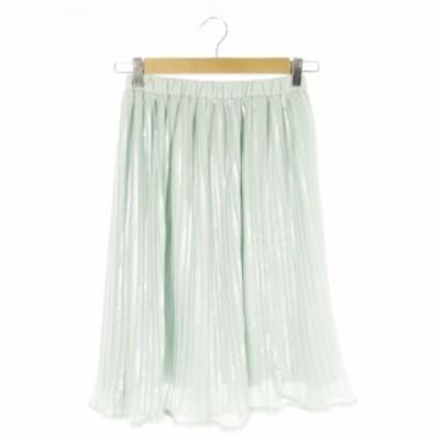 【中古】スウィングル Swingle スカート プリーツ ひざ丈 光沢感 S 緑 グリーン /AO8 ☆ レディース