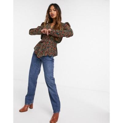 グラマラス Glamorous レディース ブラウス・シャツ トップス wrap blouse in vintage floral マルチフローラル
