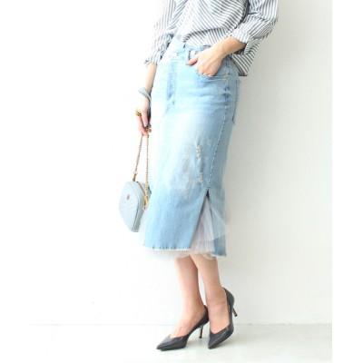 Three Four Time / チュールSKコーデリメイク風デニムスカート @ WOMEN スカート > デニムスカート