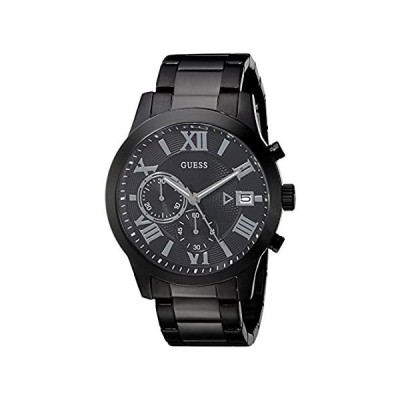 GUESS Stainless Steel Black Ionic Plated Chronograph Bracelet Watch with Date. Color: Black (Model: U0668G5) 並行輸入品