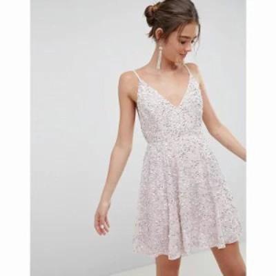 エイソス ワンピース ASOS DESIGN delicate sequin plunge mini dress with full skirt Dusty pink