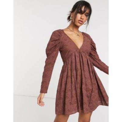 エイソス レディース ワンピース トップス ASOS DESIGN babydoll mini dress in broderie in brown Brown