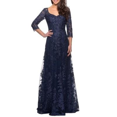 ラフェム レディース ワンピース トップス V-Neck 3/4-Sleeve Lace Gown with Mesh Illusion