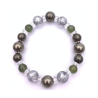 風水四神!天然石銀彫り水晶&グリーンアパタイト&パイライトのブレスレット コレクション