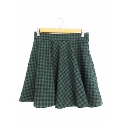 【中古】ローリーズファーム LOWRYS FARM スカート フレア ミニ 千鳥格子 F 緑 グリーン /AAM50 レディース