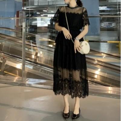 新作 パーティードレス ロングドレス レース 透け感 ハイネック 刺繍 透かし彫り 黒 結婚式 二次会 お呼ばれ 20代 30代 大きいサイズ