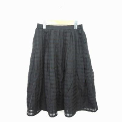 【中古】アーバンリサーチ URBAN RESEARCH スカート ギャザー フレア ミモレ丈 ロング チェック FREE 黒 ブラック