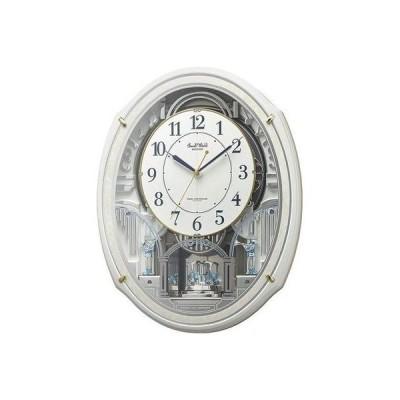 リズム時計 4MN553RH03 電波時計 掛け時計 からくり機能 48曲入り スモールワールドアルディN(白)