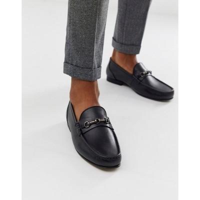 エイソス メンズ スリッポン・ローファー シューズ ASOS DESIGN loafers in black leather