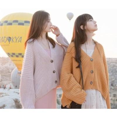 韓国ファッション ニットカーディガン ショート丈 怠惰な風