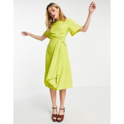 オアシス Oasis レディース ワンピース ワンピース・ドレス twist front dress ネオンイエロー