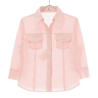 courreges / クレージュ ストライプ柄 七分袖シャツ