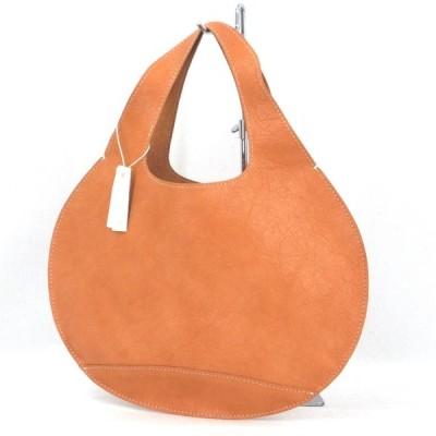 未使用 HAKOYA ハコヤ ハンドバッグ レザー くりバッグ 無地 革 手提げバッグ キャメル  バッグ 鞄  中古 92001428