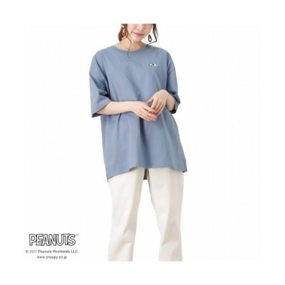 (MAC HOUSE(women)/マックハウス レディース)PEANUTS ルーズバックプリントTシャツ 335152304/レディース ブルー