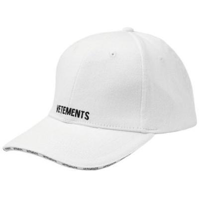 ヴェトモン フロント ロゴ刺繍 ベースボールキャップ コットン帽子 男女兼用 WSS18AC17 WHITE VETEMENTS