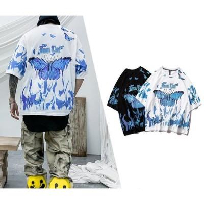 半袖Tシャツ 男 ヒップホップBF風 蝶々プリント 100%コットン C01017T1