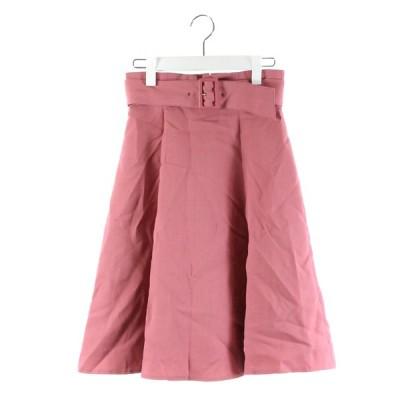 【中古】アプワイザーリッシェ Apuweiser-riche スカート フレア 膝丈 ベルト ピンク 1 /DK56 レディース 【ベクトル 古着】