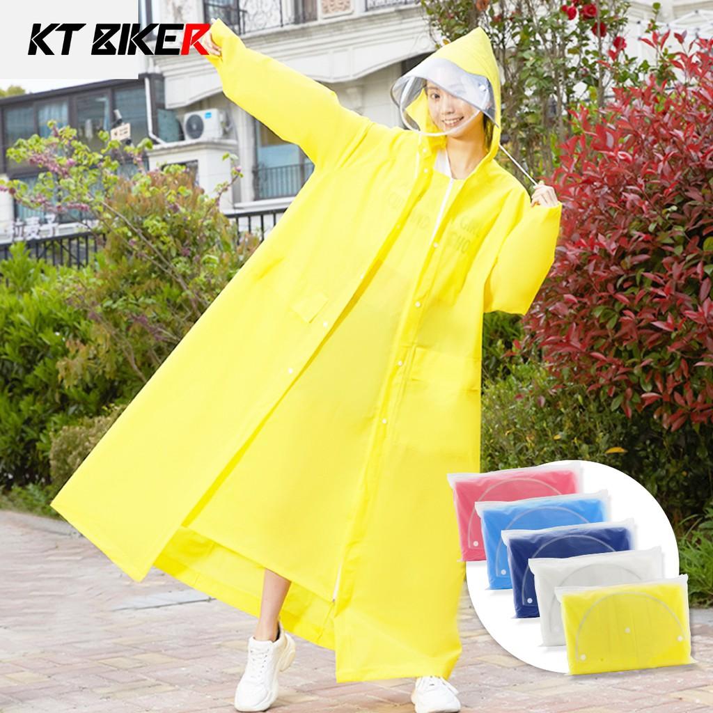 【KT BIKER】 加長版 時尚簡約 雨衣 附收納袋 加長遮腳 騎士雨衣 一件式 騎士雨衣 摩托 機車 雨衣